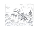 Boat with flag - Cartoon Premium Giclee Print by John O'brien