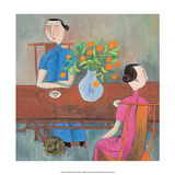 Chinese Folk Art - Cat under the Tea Table Reproducción
