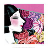 Art Deco Woman with Flower Background Poster by Helen Dryden