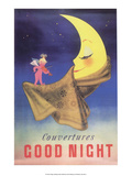Vintage Poster Advertising Blankets, Sleepy Moon Prints