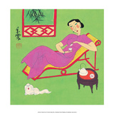 Chinese Folk Art - Girl Drinking Tea with Small Lapdog Póster