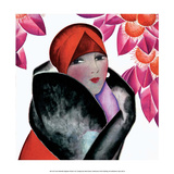 Art Deco Woman with Red Hat and Furs Prints by Helen Dryden
