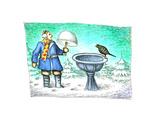 Birdbath - Cartoon Premium Giclee Print by John O'brien