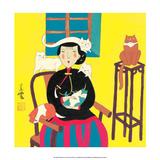 Chinese Folk Art - Cat Lady Póster