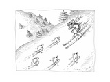 Fish skiing uphill - Cartoon Premium Giclee Print by John O'brien