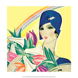 Art Deco Woman with Lilies Prints by Helen Dryden