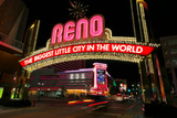 Reno, Usa - August 12: the Biggest Little City in the World Sign over Virginia Street at Night On Fotografisk tryk af  Donyanedomam