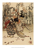 New Brooms, 1910, Sweeping Leaves Art by Helen Hyde