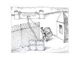 Prison guard throwing out the keys - Cartoon Premium Giclee Print by John O'brien