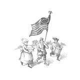 Flag , Drum and Apple Pie - Cartoon Premium Giclee Print by John O'brien