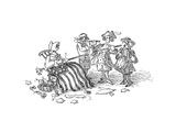 Flag pole - Cartoon Premium Giclee Print by John O'brien