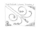 The Flying Lawn Tigers - Cartoon Premium Giclee Print by John O'brien