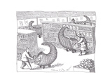 Cornucopia Shoppers - Cartoon Premium Giclee Print by John O'brien