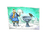 Birdbath - Cartoon Premium Giclee Print by John O'brien