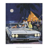 Party in the Moonlight, Mid-Century Modern Car Adverting Posters