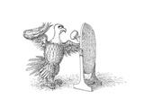 Eagle Mirror - Cartoon Premium Giclee Print by John O'brien