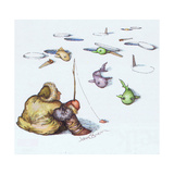 Man ice fishing. - Cartoon Premium Giclee Print by John O'brien