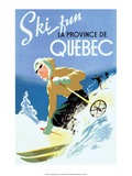 Retro Skiing Poster Affiche