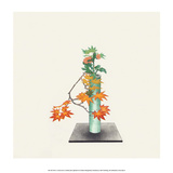 Ikebana,Arrangement of Maple & Chrysanthemum Art by Koun Ohara