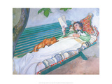 Woman Reading on a Bench, with Cat & Dog Prints by Carl Larsson