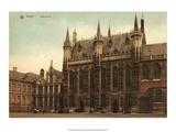Vintage Postcard, Hotel de Ville, Bruges Posters