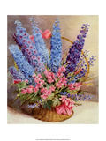 Vintage Delphiniums and Gladiolus in Straw Basket Posters