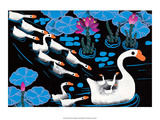 Chinese Folk Art - Mother Swan with Cygnets in Water Lilies Posters
