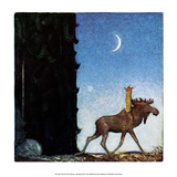 The Moose and the Princess Print by John Bauer