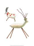 Wooden Deer and Goat - Folk Toys Prints by Emanuel Hercik