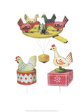 Wooden Pecking Chickens - Folk Toys Prints by Emanuel Hercik