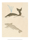 Japanese Drawing of Whales Plakater af Kitao Masayoshi
