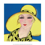 Art Deco Woman in Summer Yellow Hat Prints by Helen Dryden