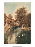 Vintage Postcard, Le Dijver, Bruges Prints