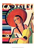 Carteles, Retro Cuban Magazine, Senorita Playing Guitar Plakater