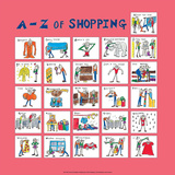 A - Z of Shopping Print by Nicola Streeten