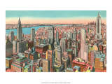 Vintage New York Postcard - Midtown Skyscrapers Prints