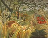 Tiger In A Tropical Storm Giclée-tryk af Henri Rousseau