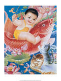 Chinese Happy New Year Baby Riding Lucky Fish Prints