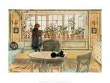 The Flower Window Art par Carl Larsson