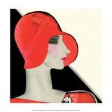 Art Deco Woman with Red Hat Art by Helen Dryden