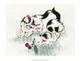 Chinese Kittens with Cherries Prints