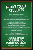 Notice to all Students Classroom Rules Poster Prints
