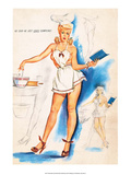 Retro Pin Up, Nude with a Apron Prints by Freeman Elliott