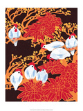 Chinese Folk Art - Chickens in the Trees Print