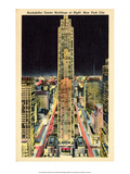 Vintage New York Postcard - Rockefeller Center at Night Print