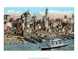 Vintage New York Postcard - Lower Manhattan Posters