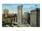 Vintage New York Postcard - Fifth Ave & Flat Iron Building Poster