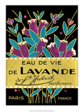 Vintage Art Deco Label, Eau de Vie de Lavande - Reprodüksiyon