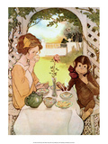 Tea with Monkey Print by Jessie Willcox Smith