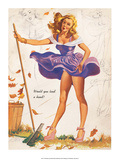 Retro Pin Up, Windy Day, Skirts Away Poster by Freeman Elliott